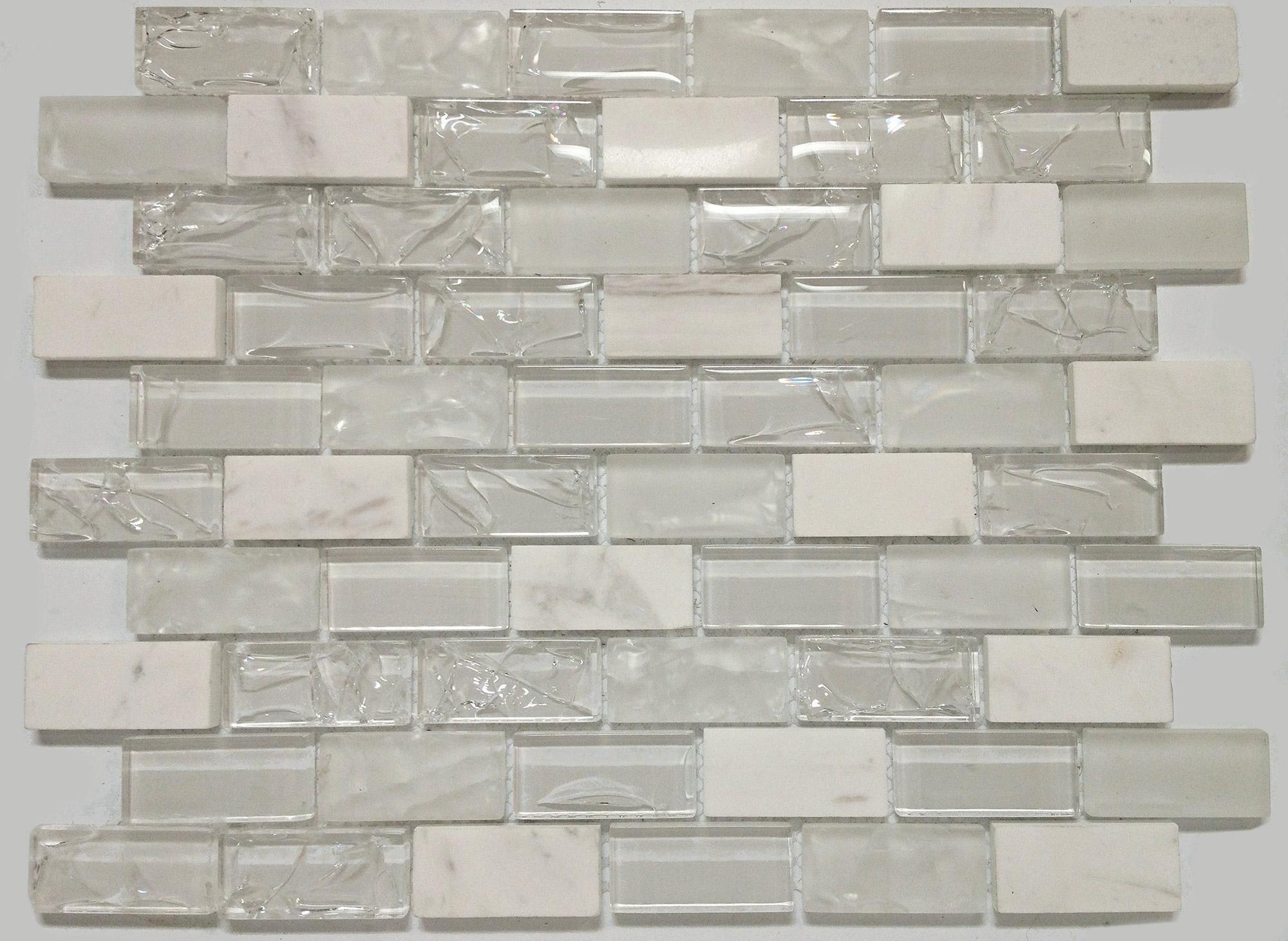"Mango Bristol Snow 3 4"" Glass Tile Sheets MG804 GLASS"