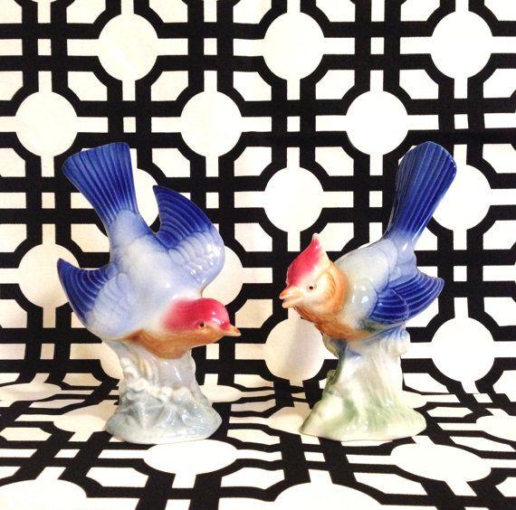 Vintage Pair of Blue Birds - Mid Century Bird Figurines MCM