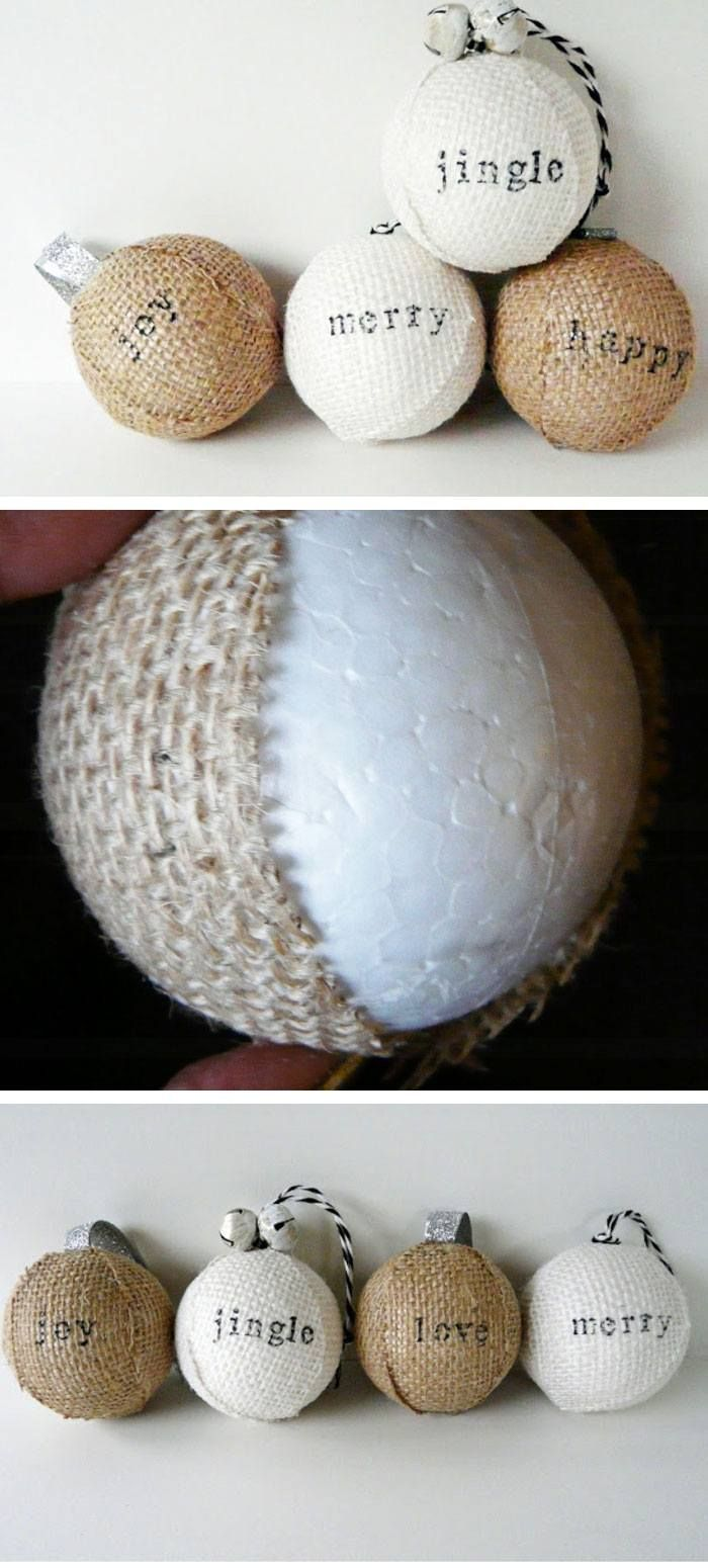Stamped Burlap Ornaments Click Pic for 22 DIY Christmas