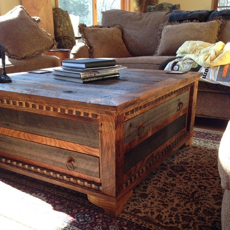 country roads reclaimed wood square coffee table | negozi, idaho e