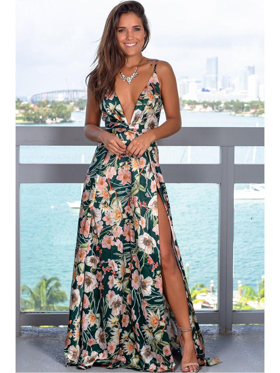 Women Maxi Dress Sleeveless V Neck Floral Printed Summer Beach High Split Casual Boho Long Dress 5 Boho Dresses Long Maxi Dress Beach Maxi Dress [ 1200 x 900 Pixel ]