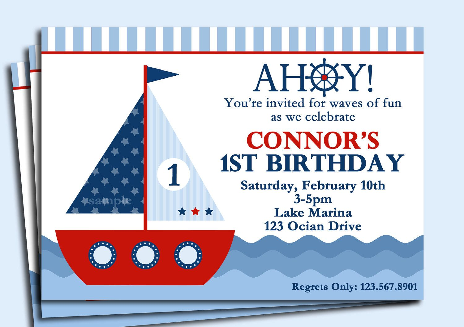 Sailboat Invitation Printable or Printed with FREE SHIPPING ...