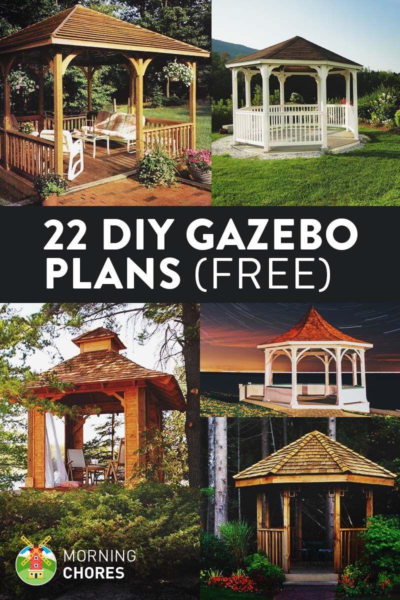 22 Free Diy Gazebo Plans Ideas To Build With Step By Step Tutorials Diy Gazebo Gazebo Plans Backyard Gazebo