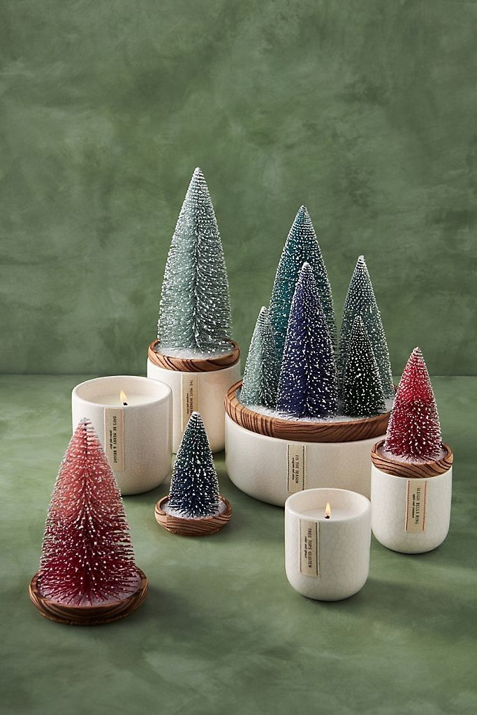 Frosted Bottle Brush Tree Candle In 2020 Candle Tree Bottle Brush Trees Holiday Scents