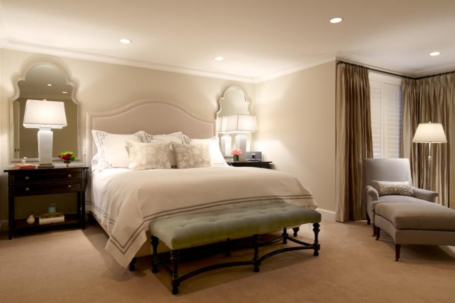 Bedrooms And More Seattle Decor love the mirrors behind nightstands and the upholstered headboard
