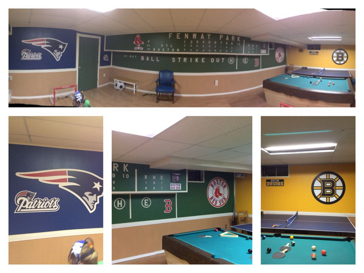 Latest Basement Project Almost Done...Patriots, Red Sox
