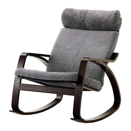 Ikea Poang Rocker With Grey Sheepskin And Black Brown Frame