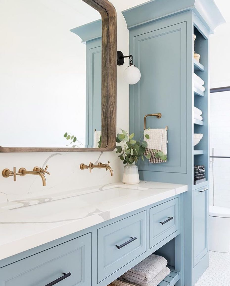 J Hill Interiors Inc On Instagram We Have Been Seeing This Beautiful Icy Blue Color Popping Up A Lot Lately Mo Bathrooms Remodel Bathroom Inspiration Home