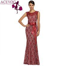 Acevog mujer la marca Maxi Vestido largo damas elegantes túnica Floral del cordón de la sirena vestidos ajustados formales Vestido Longo más el tamaño M-XXL(China (Mainland))