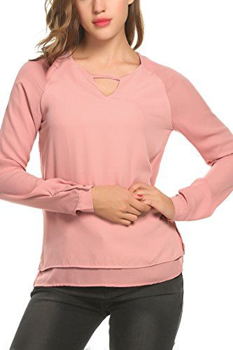 Meaneor Women Cool New Design Front Back Hollow Summer Short Blouse Pink L ** Learn more by visiting the image link.Note:It is affiliate link to Amazon.