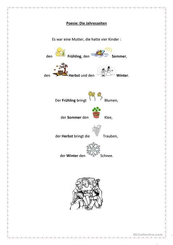 die jahreszeiten kikri kinder gedichte kindergarten lieder und jahreszeiten arbeitsblatt. Black Bedroom Furniture Sets. Home Design Ideas