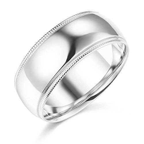 14k White Gold 8mm Plain Milgrain Wedding Band Size 85 Click Image For More Details Thi Wedding Ring Bands Milgrain Wedding Bands Yellow Gold Wedding Band