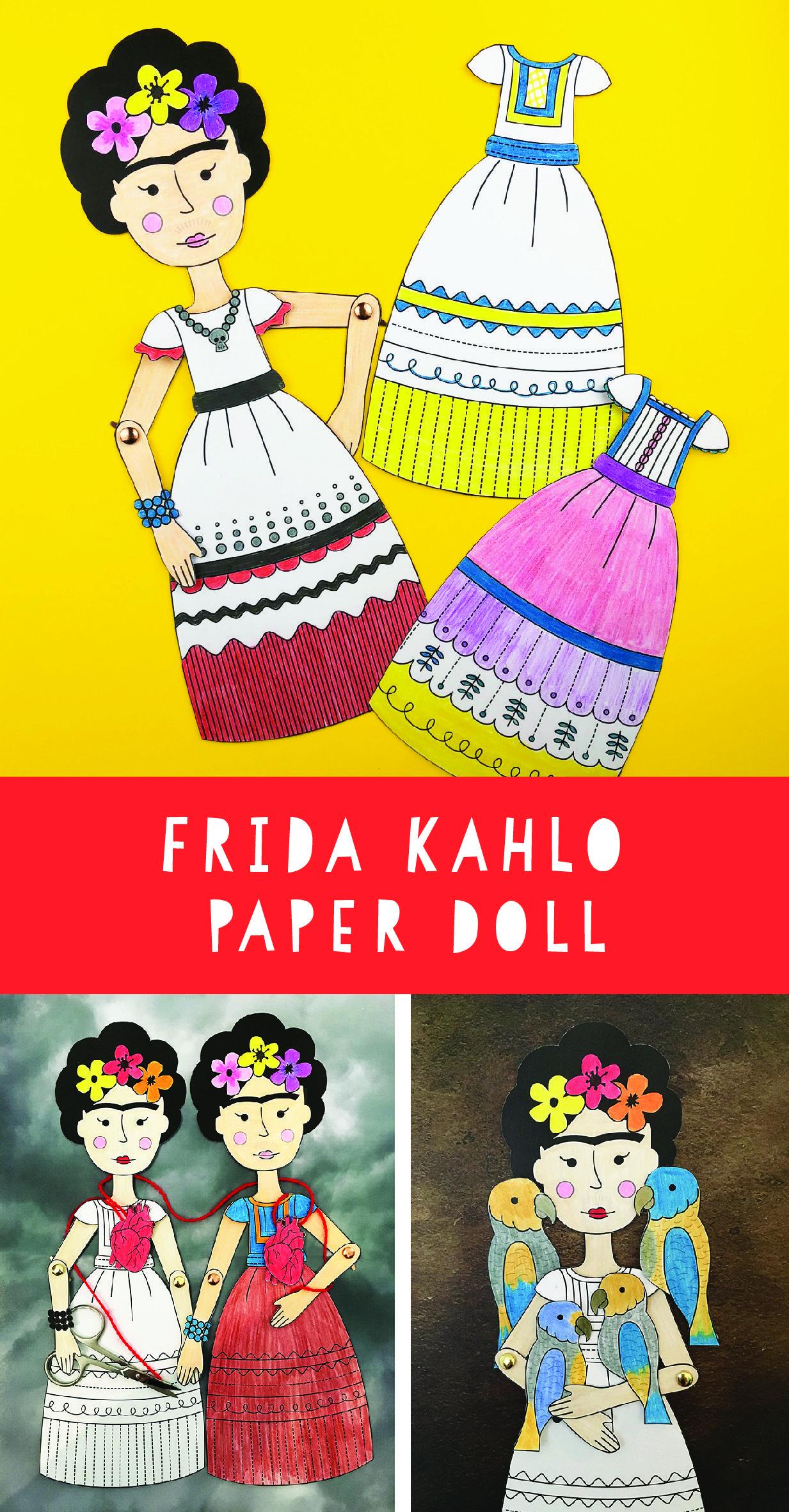 Frida Kahlo Printable Paper Doll Fun Art History Activity