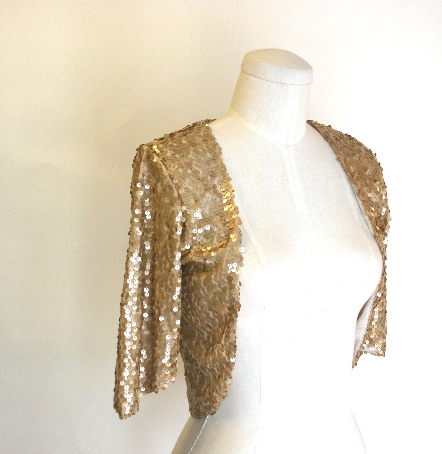 1a2b163aea4 Gold Sequined Bolero Shrug 3/4 sleeves for Formal Wedding or Bridal Party -  Classic and Simple - SALLY. $60.00, via Etsy.
