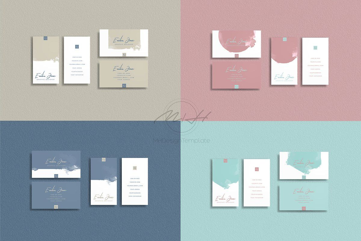 Christmas Instagram Template Business Cards Creative Templates Business Card Design Watercolor Business Cards
