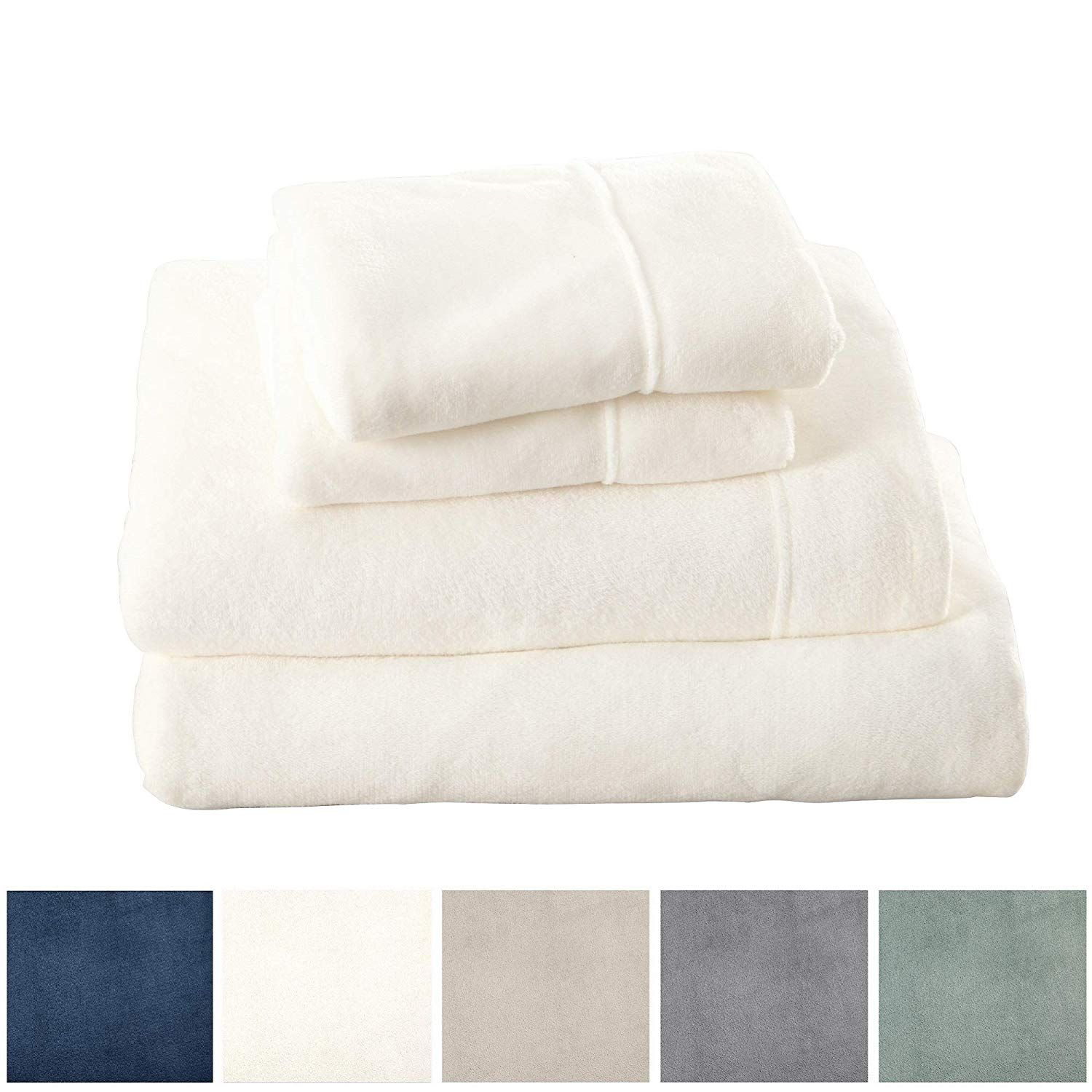 Full, Denim Blue Deluxe Bed Sheets with Deep Pockets Velvet Luxe Collection Great Bay Home Extra Soft Cozy Velvet Plush Sheet Set