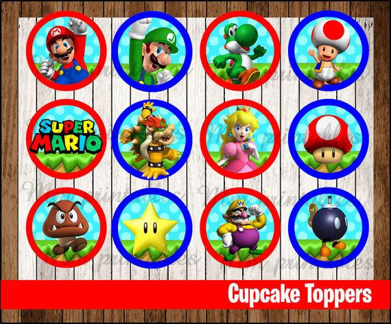 80 Off Sale Mario Bros Cupcakes Toppers Instant Download