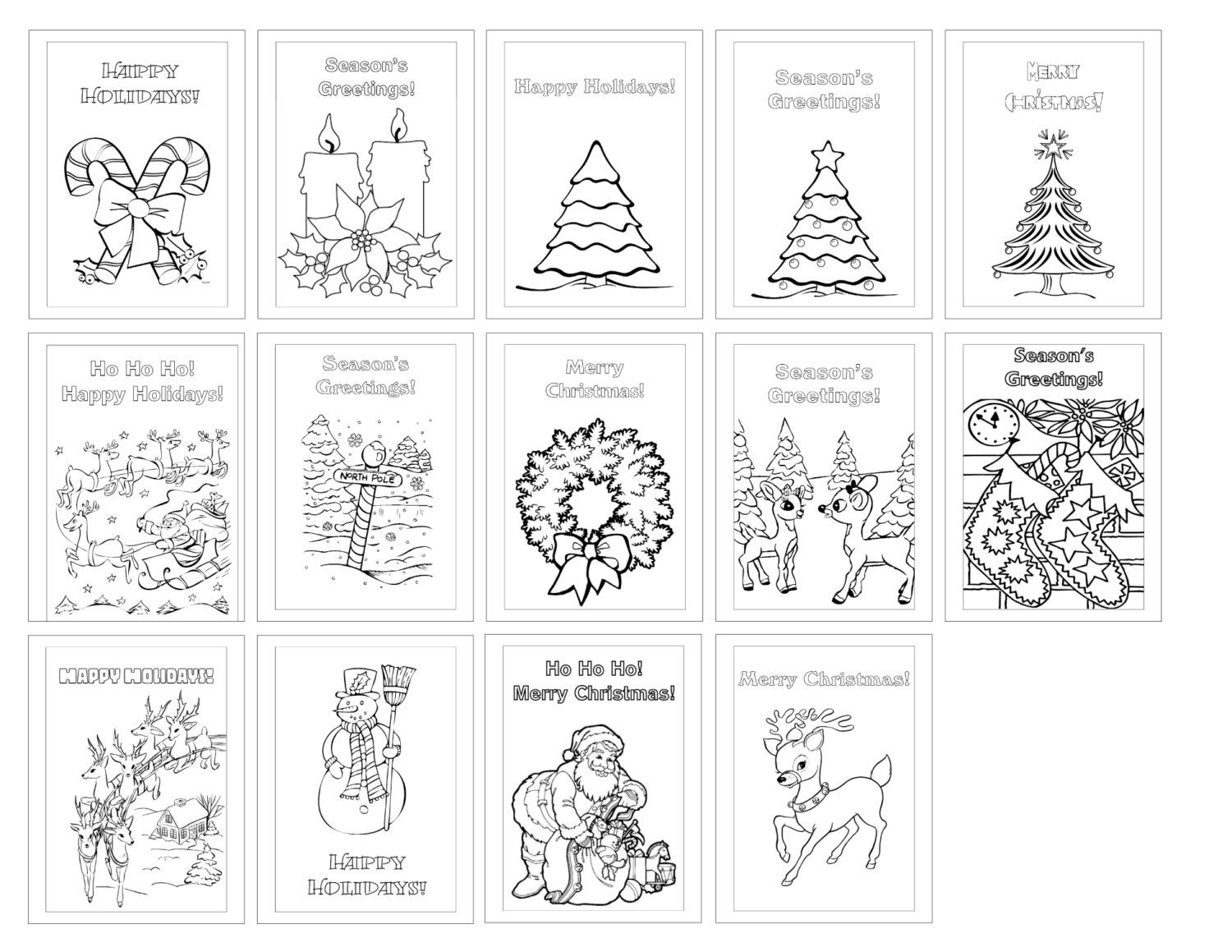 color your own digital christmas greeting cards set of 14 vertical