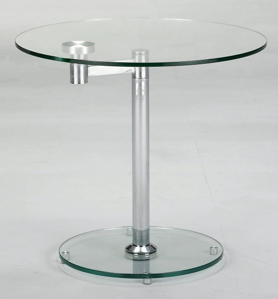 Chintaly Imports Chrome Round Lamp Table Chintaly Imports