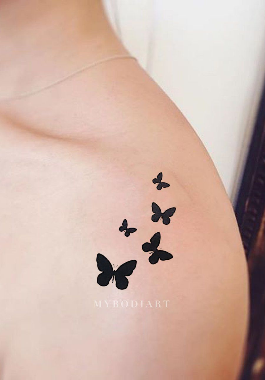 Masie Geometric Vintage Black Monarch Butterfly Temporary Tattoo