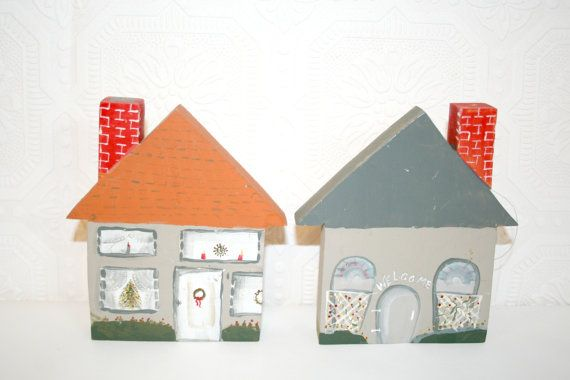 Folk Art Hand Painted Wooden Houses Houses in by FlyByNightVintage