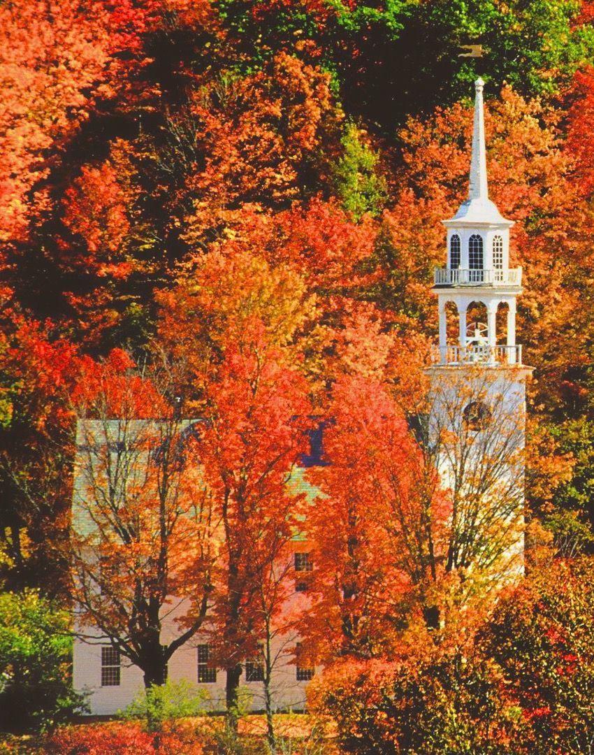 Church in autumn (Stafford, Vermont) by Russell Burden #autumnscenes