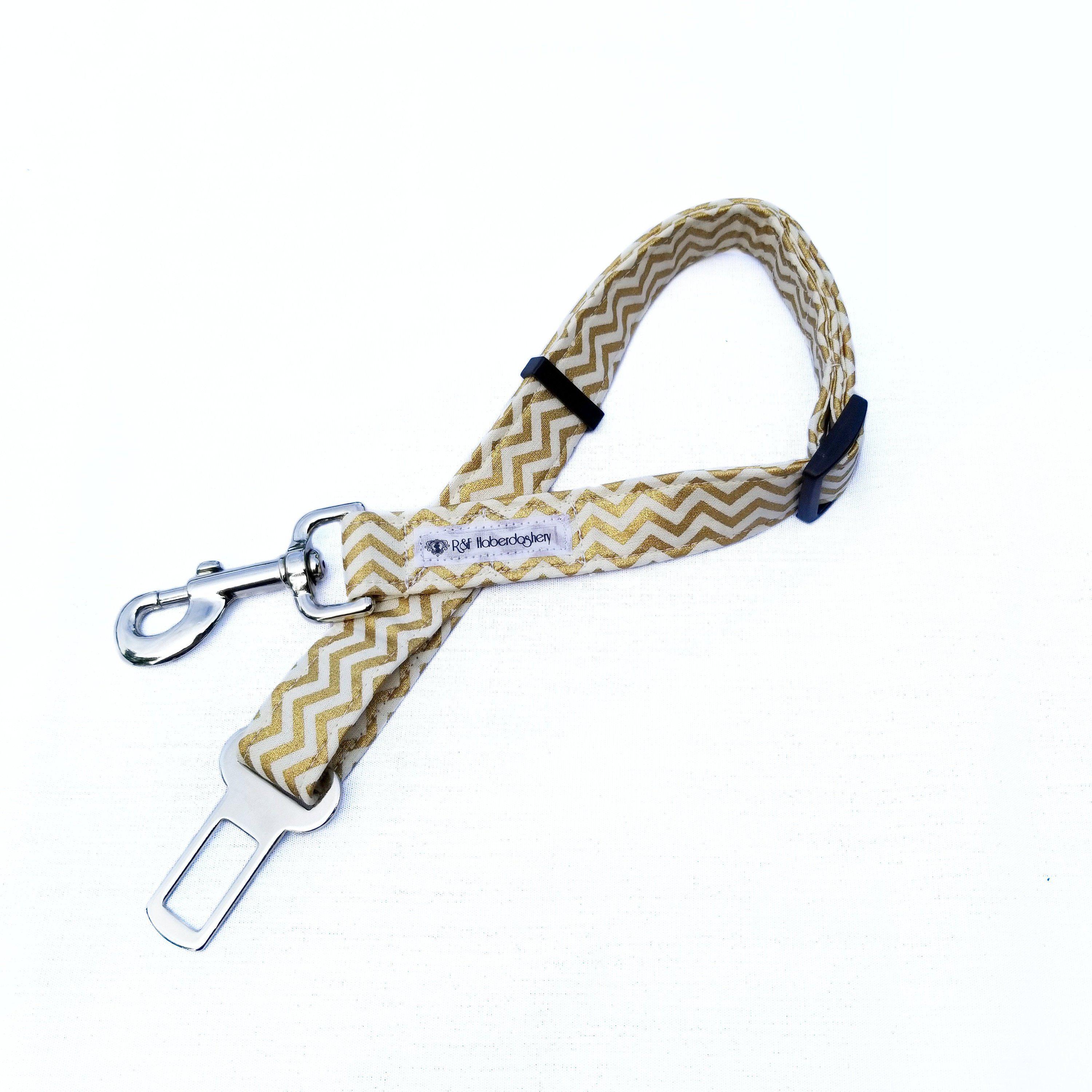Dog Seat Belt Tether Gold Chevron Stripe/ Winter Dog Leash