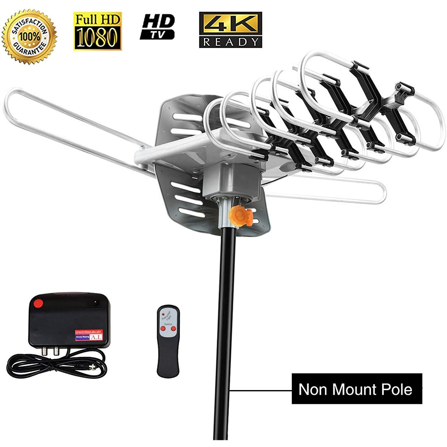 Tv Antenna Sobetter Amplified Outdoor 150 Mile Range Digital Tv Antenna With Uhf Vhf Fm 360a Rotation High Perfor Tv Antenna Tv Antennas Outdoor Tv Antenna