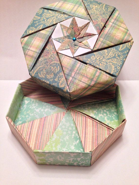 Blue And Green Plaid And Floral Octagonal Origami Gift Box Origami