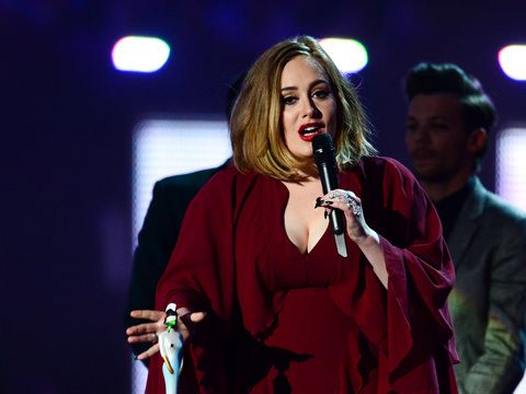 Adele voices her support for Kesha during her acceptance speech at the Brit Awards.
