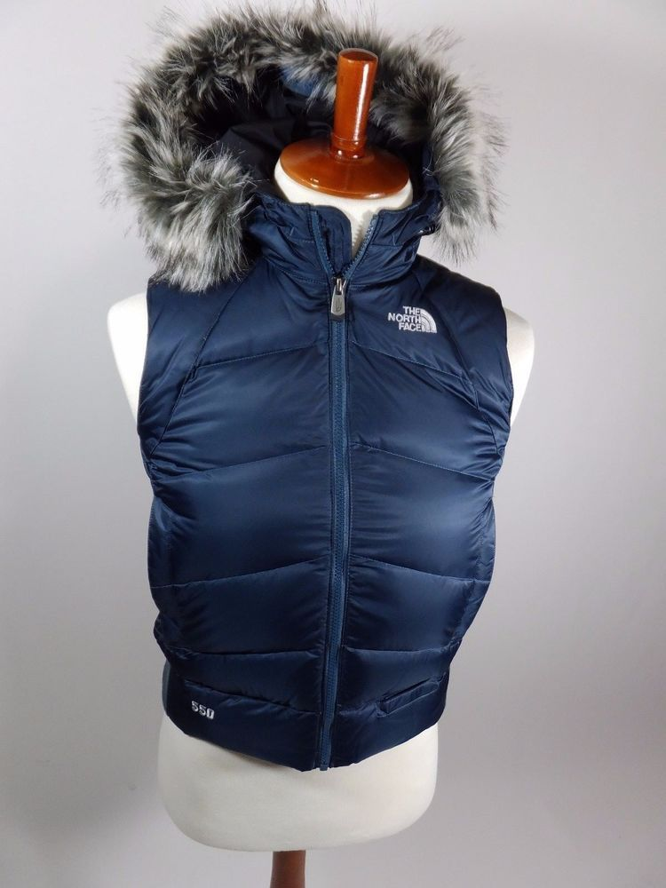 North Face Puffer 550 Goose Down Vest Jacket Navy Blue Faux Fur Hood Women  Small  TheNorthFace  PufferVest ca8d23682