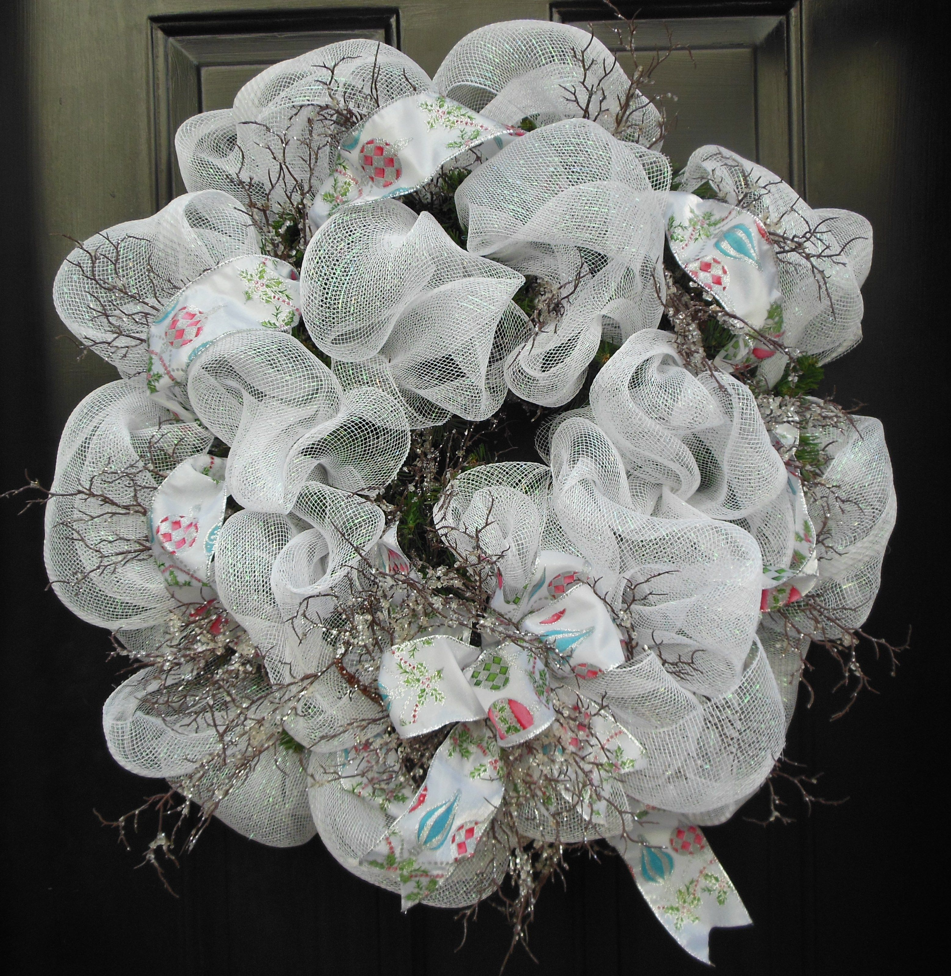 Frosty White Deco Mesh Christmas Wreath with Frosted Twig Embellishments