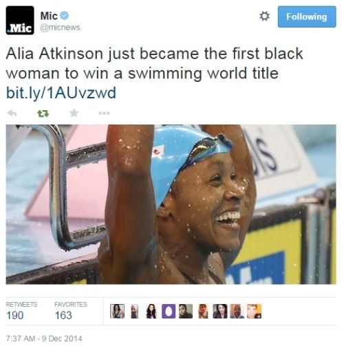 Alia Atkinson first black woman to win a swimming world title.