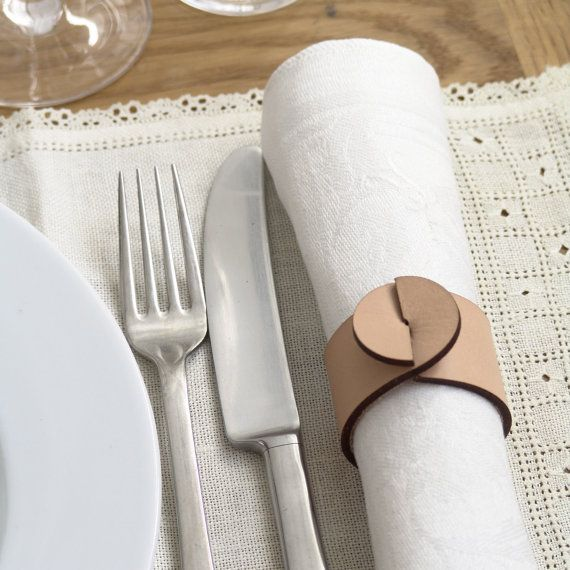 Casual dining - set of four (4) tan artisan leather napkin rings - great hostess gift