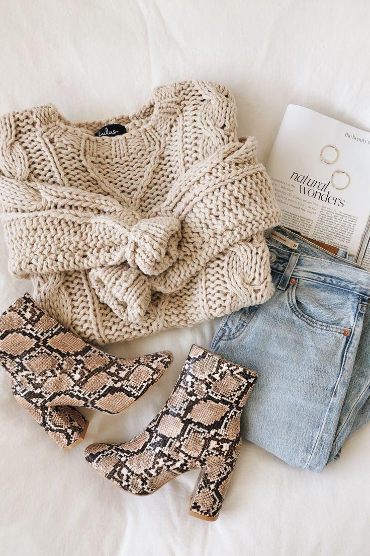 Jaylene Beige Cable Knit Sweater