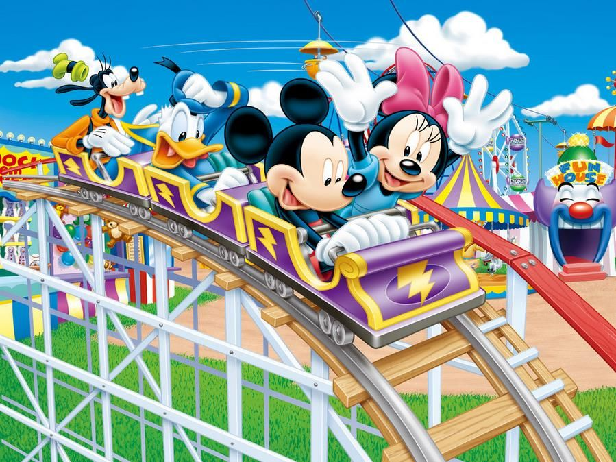 Custom 3d Photo Wallpaper Non Woven The Mickey Mouse Background Of Modern Aesthetic Amusement Park Roller Coaster Affiliate