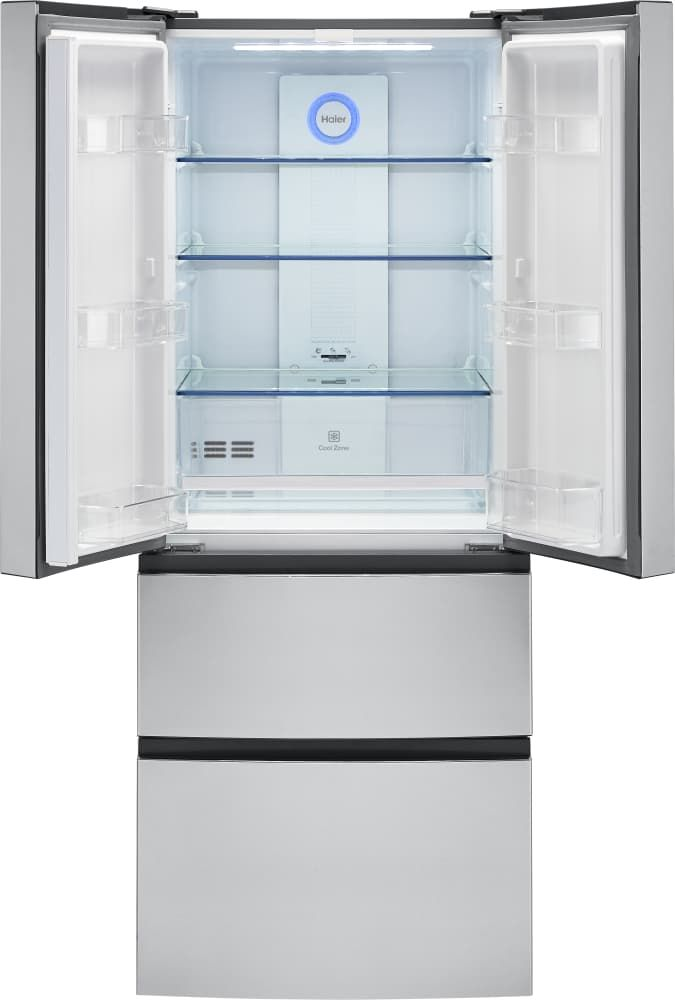 Haier Hrf15n3ags 28 Inch 4 Door Counter Depth French Door Refrigerator With 14 9 Cu Ft Capacity Double Freezer Drawers Quick Cool Quick Freeze Smudge Resi Counter Depth French Door Refrigerator Tempered Glass