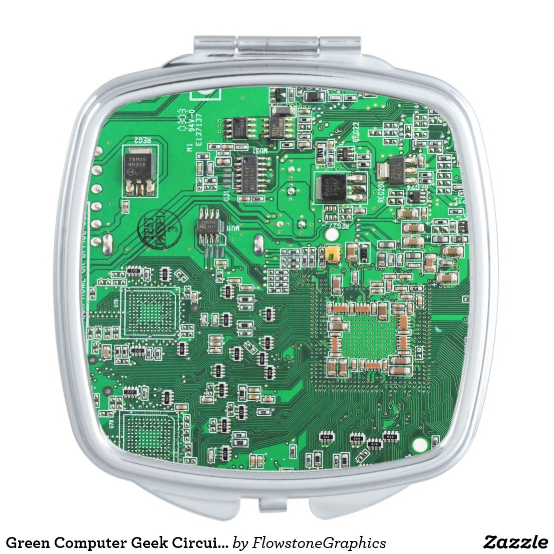 Green Computer Geek Circuit Board Compact Mirror