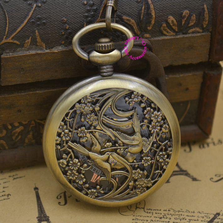 c4a3e79d921 Barato Relógio de bolso mecânico homens homem pássaro fob relógios  steampunk bronze romano antigo vintage retro
