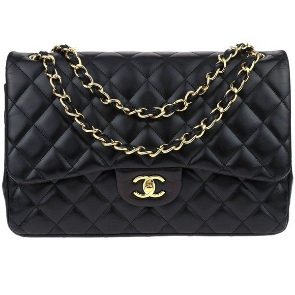 Pre Owned Chanel Black Lambskin Jumbo Double Flap Bag 3 650 Liked On