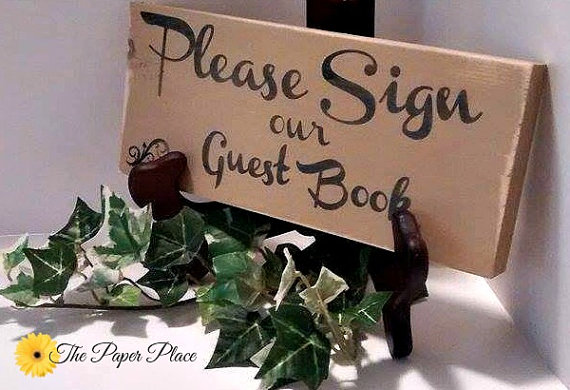 Wood Sign  Rustic  Guest Book  Please Sign by ThePaperPlaceAndMore