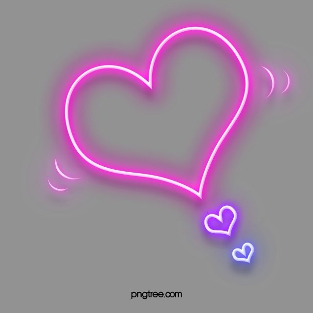 Pink Purple Heart Shaped Neon Effect Border Elements Pink Heart Background Neon Pink Flowers Background