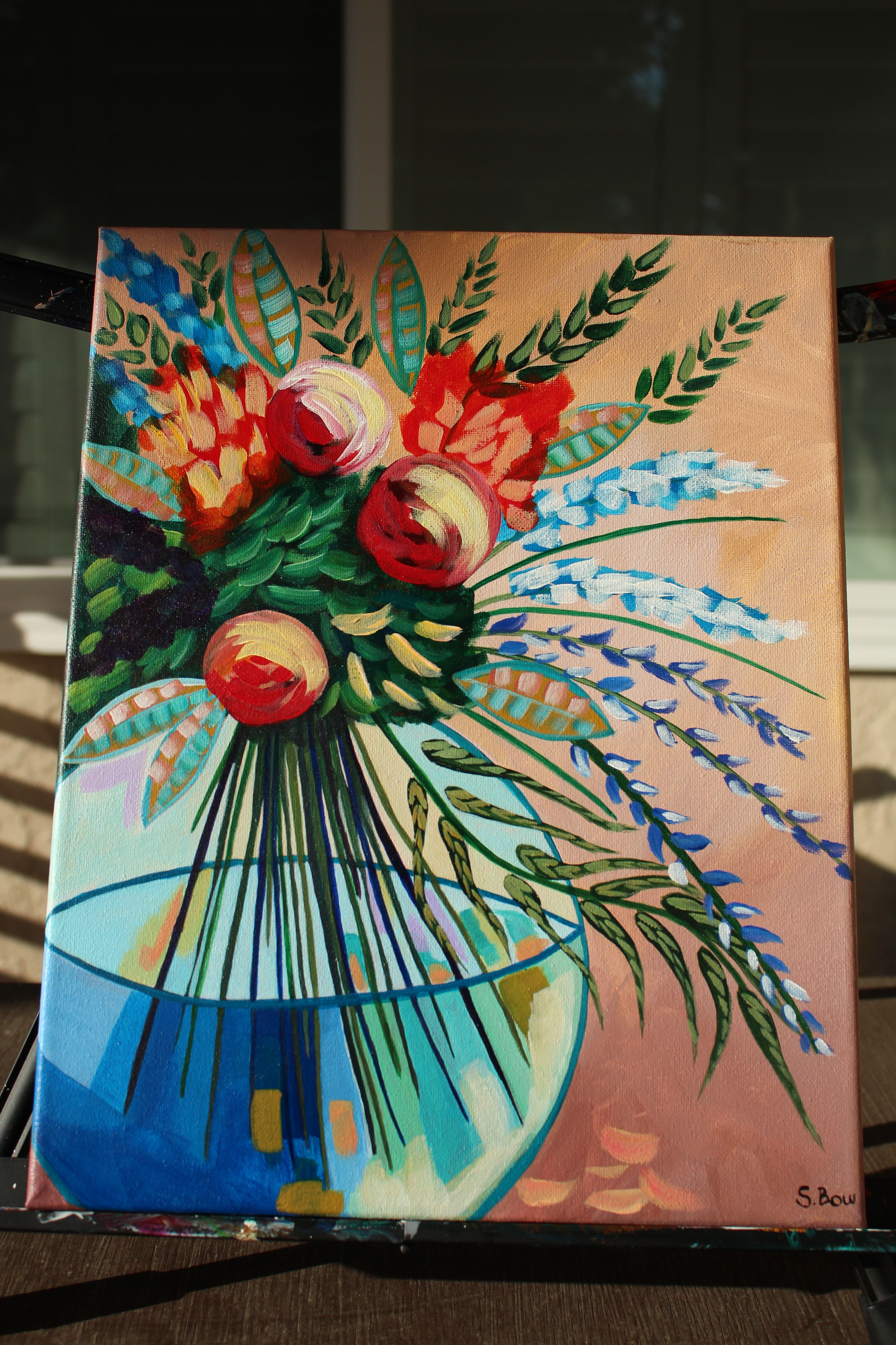 Painting Lost Track Flowers In Vase Inspired By