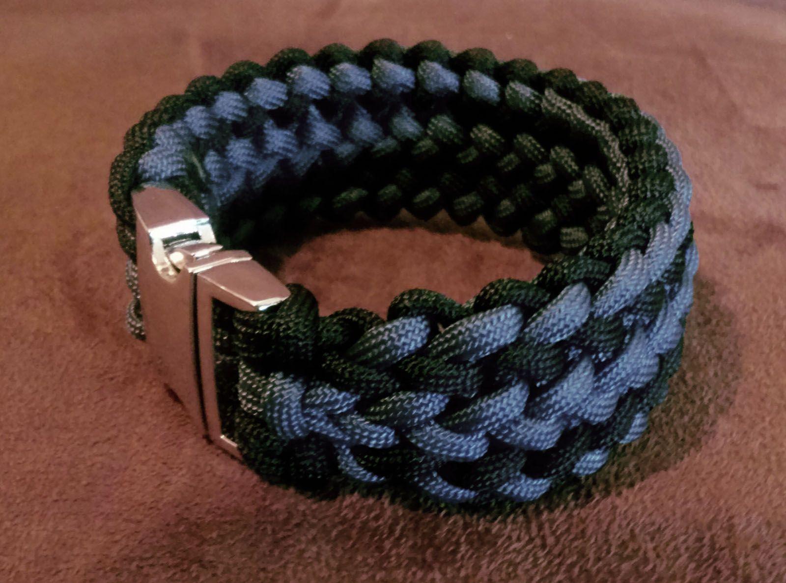 Triple Wide Zipper Sinnet Black Grey Survival Bracelet By