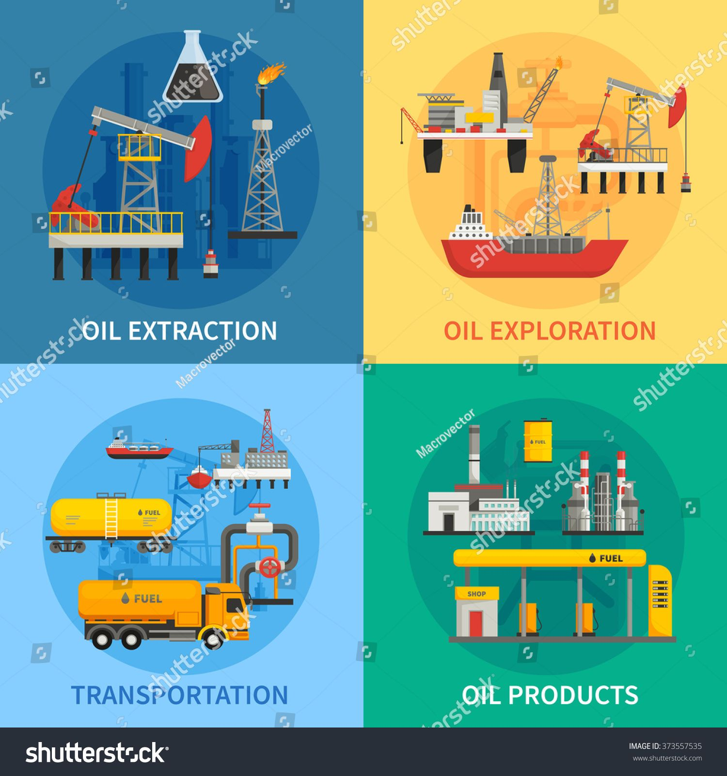 Flat 2x2 images presenting oil petrol industry oil