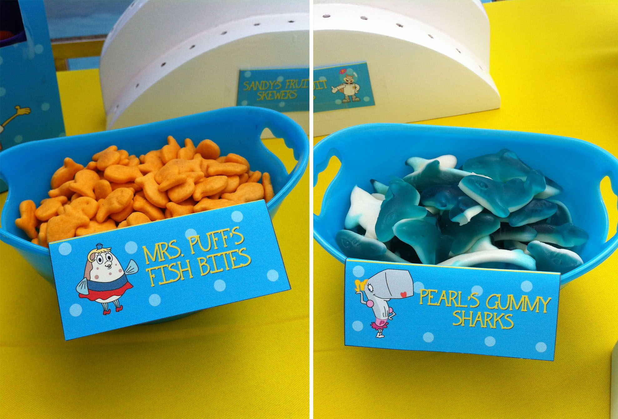 spongebob birthday party food ideas fish bites and gummy sharks