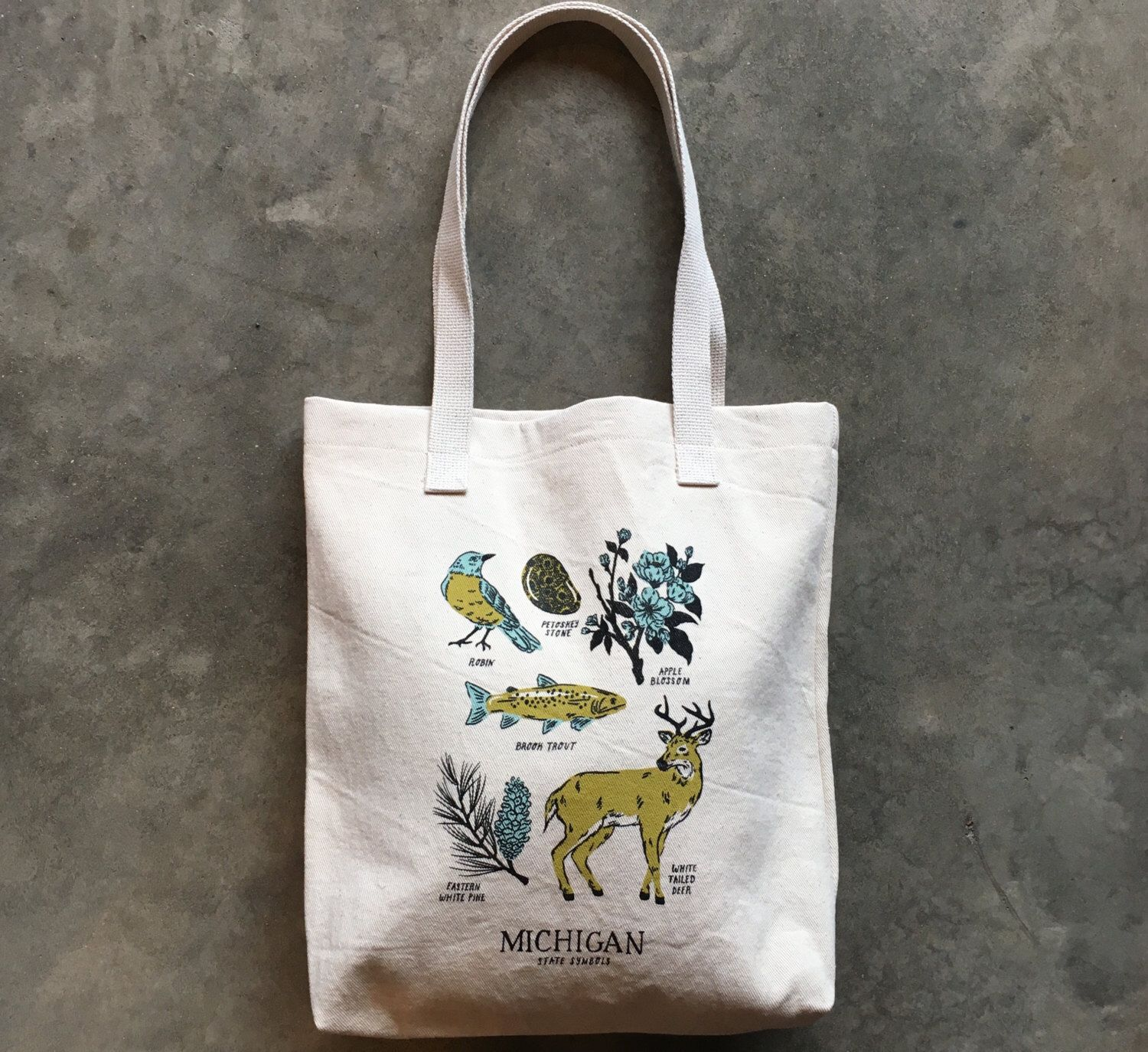 Michigan State Symbols Tote Bag By Citybird On Etsy S