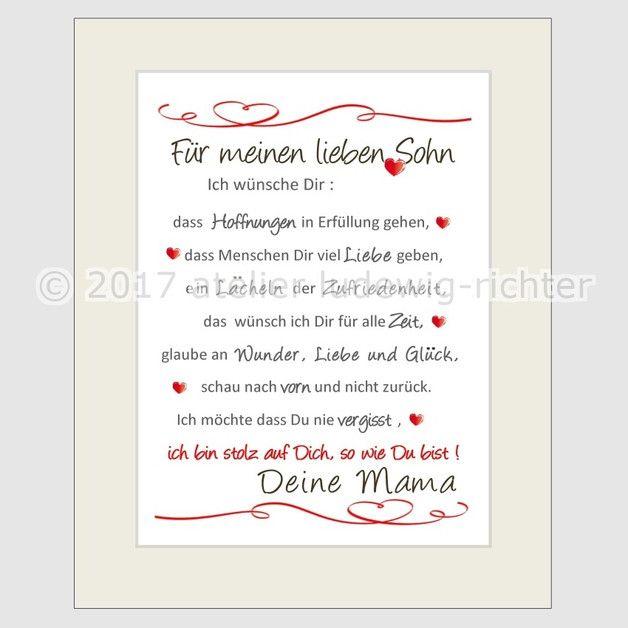 Sinnliche, liebevolle und lustige Spruchbilder für alle Gelegenheiten **Für meinen lieben Sohn** liebevoll gestaltetes Spruchbild im Format 24 x 30 cm mit Passepartout  Ein schönes Geschenk... #lustigegeschenke