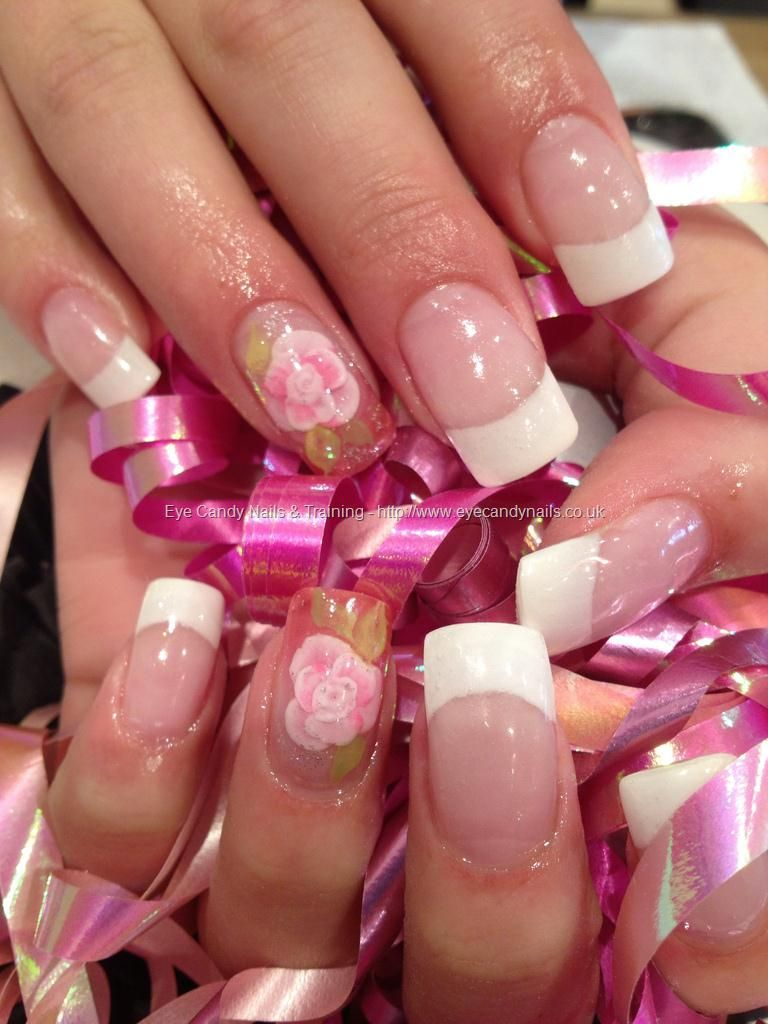 White French polish gel overlays with 3D acrylic encapsulated flower ...