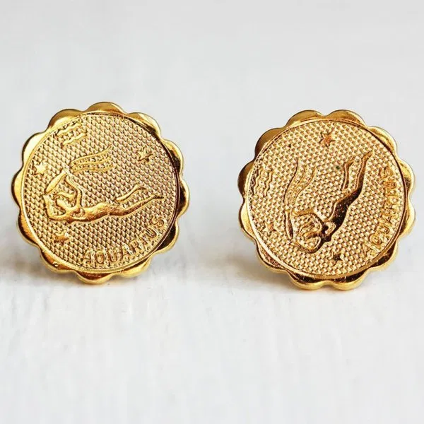 Aquarius Gold Stud Earrings (With Images)